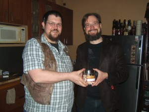 Robert with his prize for being first out: A jar of matches!