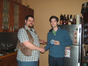 1st place winner Nathaniel with his prize: A tamper and a tin of Mr. B Legend Series Hudson's Bay